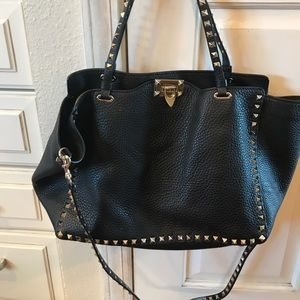 2ad002783990 Valentino Bags - Valentino Rockstud Grained Calfskin Leather Tote